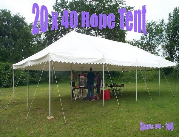 20 X 40 Rope Tent - A 20 X 40 Rope Tent will seat approximately 80 to 100 people & Kolby-Rentals